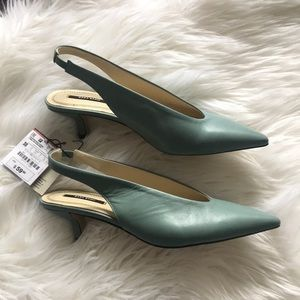 Seafoam green leather sling backs from Zara
